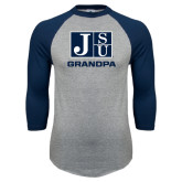 Grey/Navy Raglan Baseball T Shirt-Grandpa