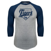 Grey/Navy Raglan Baseball T Shirt-Tigers Baseball w/ Script and Plate