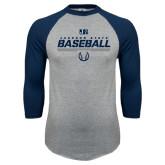 Grey/Navy Raglan Baseball T Shirt-Jackson State Baseball Stencil w/ Ball