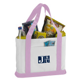 Contender White/Pink Canvas Tote-Official Logo