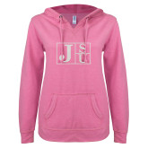 ENZA Ladies Hot Pink V Notch Raw Edge Fleece Hoodie-Official Logo Silver Soft Glitter