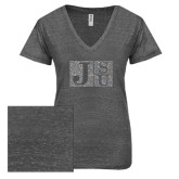 ENZA Ladies Graphite Melange V Neck Tee-Official Logo Silver Soft Glitter