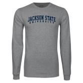 Grey Long Sleeve T Shirt-Arched Jackson State University