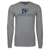 Grey Long Sleeve T Shirt-JSU Jackson State University Stacked
