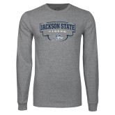 Grey Long Sleeve T Shirt-Jackson State Tigers Arched w/ Outline