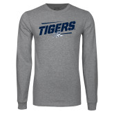 Grey Long Sleeve T Shirt-Tigers Slanted w/Tiger
