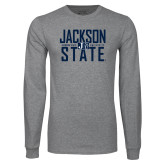 Grey Long Sleeve T Shirt-Jackson State Stacked w/ Logo