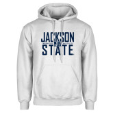 White Fleece Hoodie-Jackson State Stacked w/ Logo