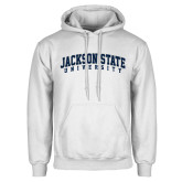 White Fleece Hoodie-Arched Jackson State University