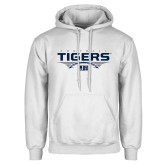 White Fleece Hoodie-Tigers Football Stacked w/ Ball