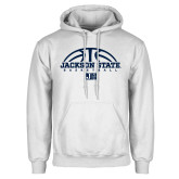 White Fleece Hoodie-Jackson State Basketball Half Ball
