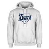 White Fleece Hoodie-Tigers Baseball w/ Script and Plate