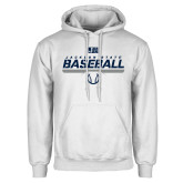White Fleece Hoodie-Jackson State Baseball Stencil w/ Ball