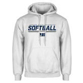 White Fleece Hoodie-Jackson State Softball Stencil w/ Underline