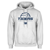 White Fleece Hoodie-Tigers Volleyball Stacked w/ Ball