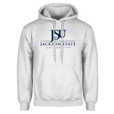 White Fleece Hoodie-JSU Jackson State University Stacked