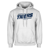 White Fleece Hoodie-Tigers Slanted w/Tiger