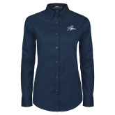 Ladies Navy Twill Button Down Long Sleeve-Tiger