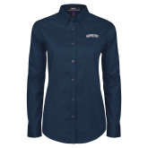 Ladies Navy Twill Button Down Long Sleeve-Arched Jackson State University