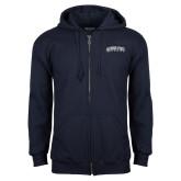 Navy Fleece Full Zip Hood-Arched Jackson State University