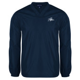 V Neck Navy Raglan Windshirt-Tiger