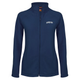 Ladies Fleece Full Zip Navy Jacket-Arched Jackson State University