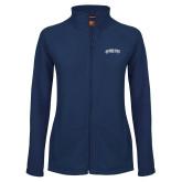 Ladies Fleece Full Zip Navy Jacket-Arched Jackson State University