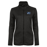 Black Heather Ladies Fleece Jacket-Official Logo
