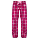 Ladies Dark Fuchsia/White Flannel Pajama Pant-Official Logo