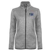 Grey Heather Ladies Fleece Jacket-Official Logo