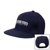 Navy Flat Bill Snapback Hat-Arched Jackson State University
