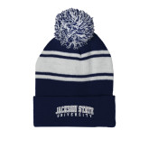 Navy/White Two Tone Knit Pom Beanie with Cuff-Arched Jackson State University