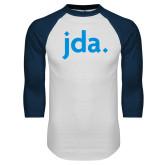 White/Navy Raglan Baseball T Shirt-jda