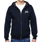 Navy Fleece Full Zip Hoodie-jda - 2 inches wide