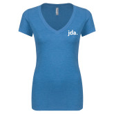 Next Level Ladies Vintage Turquoise Tri Blend V Neck Tee-jda - 2 inches wide