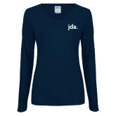 Ladies Navy Long Sleeve V Neck Tee-jda - 2 inches wide
