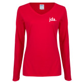 Ladies Red Long Sleeve V Neck Tee-jda - 2 inches wide