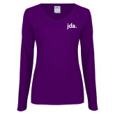 Ladies Purple Long Sleeve V Neck Tee-jda - 2 inches wide