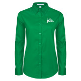 Ladies Kelly Green Twill Button Down Long Sleeve-jda