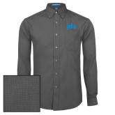 Mens Dark Charcoal Crosshatch Poplin Long Sleeve Shirt-jda