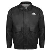 Black Leather Bomber Jacket-jda