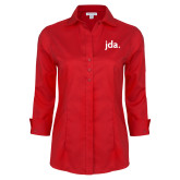 Ladies Red House Red 3/4 Sleeve Shirt-jda