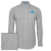Mens Charcoal Plaid Pattern Long Sleeve Shirt-jda
