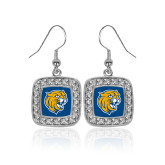Crystal Studded Square Pendant Silver Dangle Earrings-Wildcat Head