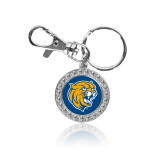 Crystal Studded Round Key Chain-Wildcat Head