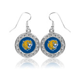 Crystal Studded Round Pendant Silver Dangle Earrings-Wildcat Head