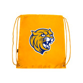 Nylon Gold Drawstring Backpack-Wildcat Head