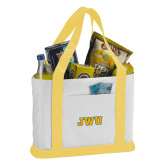 Contender White/Gold Canvas Tote-JWU