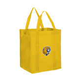 Non Woven Gold Grocery Tote-Wildcat Head