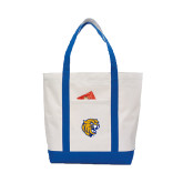 Contender White/Royal Canvas Tote-Wildcat Head